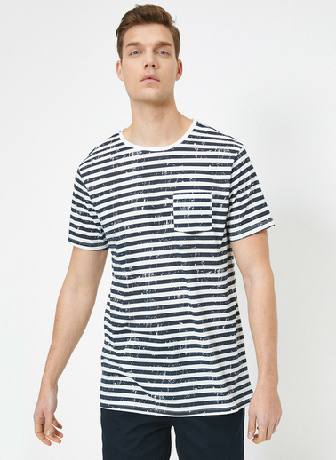 Koton Bisiklet Yaka Kisa Kol % Pamuklu Çizgili Cep Detaylı T-Shirt Beyaz